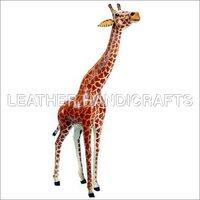 Stuffed Leather Standing Giraffe Toy