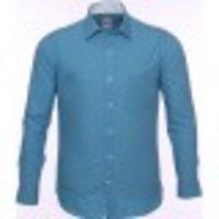 Plain Sea Blue Slim Formal Shirt