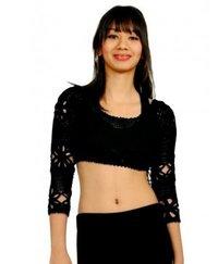 Black Crochet Saree Blouse