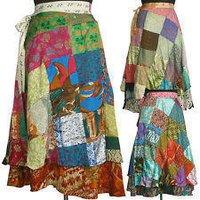 Vintage Silk Sari Patchwork Magic Wrap Skirts