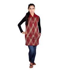 Check/Plaid Sleeveless Long Cardigan/Coat