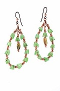Green And Copper Glass Earring