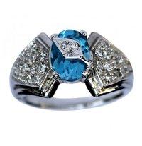 Blue Topaz And Zircon Ring