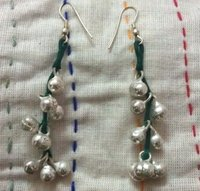 Hand Made Thread And Bell Earrings