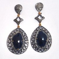 Sapphires and Diamonds in Victorian style Earring