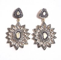 Starfall with Rough and cut Diamonds in Victorian style Earring