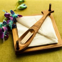 Elegant Brown Tissue Cum Toothpick Holder In Teak Wood