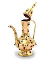 Antique Gemstone Brass Surahi