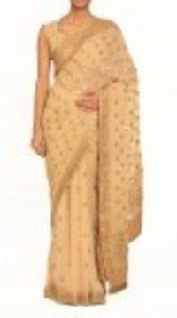 Beige Embroidered Golden Border Saree