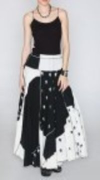 Black And White Embroidered Cotton Skirt Set