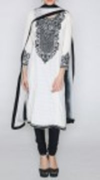 Black And White Embroidered Cotton Suit