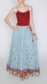 Blue Flared Cotton Georgette Skirt Set