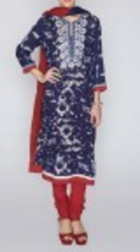 Blue Printed Geogette Churidar Kameez