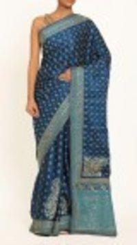 Blue Printed Satin Saree