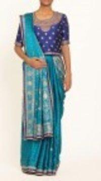 Blue Silk Printed Embroidered Saree
