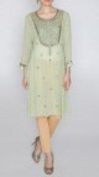 Green Embroidered Georgette Kurti