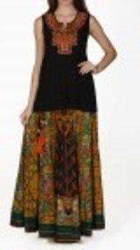 Green Printed Skirt And Kurti Set