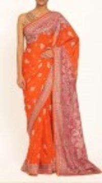 Orange Silk Printed Bridal Saree