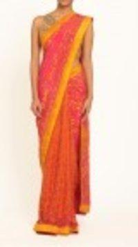 Orange Silk Printed Saree