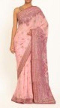 Pink Silk Printed Saree