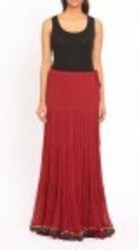 Red Flared Crepe Long Skirt
