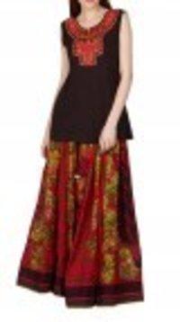Red Printed Skirt And Kurti Set