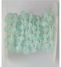 Aqua Chalcedony Faceted Rosary Beaded Chain