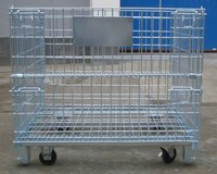 Stackable Wire Mesh Basket Warehouse Cage with Casters