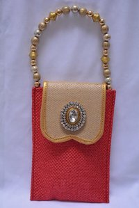 Red And Gold Jute Handbag With Multi Use in Noida