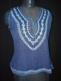 Ladies Designer Rayon Top (Indigo Blue)