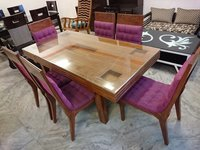 6 Seater Teak Wood Dining Table Chairs Set