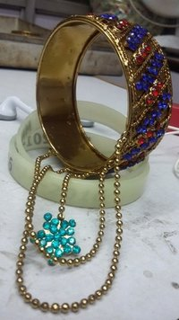 Metal Bangles With Chain