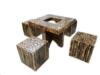 Square Folding Wooden Log Slices Coffee Table Set