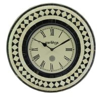 Wall Clock With Bone White And Horn