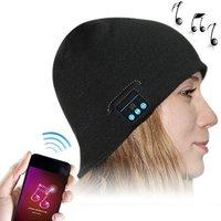 Bluetooth Headset Black Warm Winter Hat