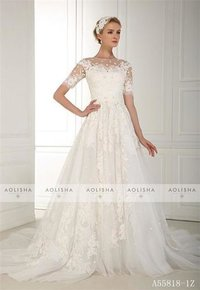 A55818-1z Short Sleeve Round Collar Inllusion Lace Applique Ball Gown
