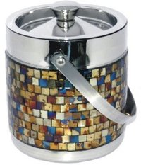 Handcrafted Double Walled Ice Bucket With Antique Gold Mosaic Finish