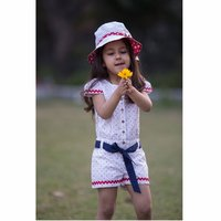 Organic Cotton Printed Girl'S Cape Sleeve Summer Jumpsuit