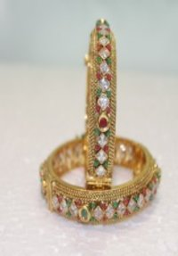 Polki Bangles With Beautiful Red Green And White Stone