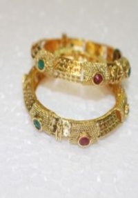 Polki Bangles With Beautiful Red White And Green Stone