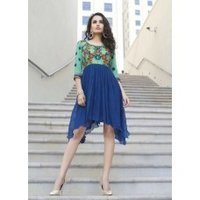 Embroidered Georgette Solid Women'S Kurti Blue