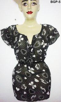 Georgette Black Print Tunic