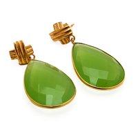 Sterling Silver Sea Green Chalcedony Gemstone Earring