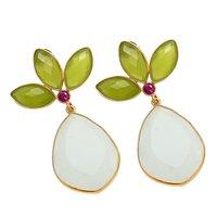Milky And Sea Green Chalcedony Earrings