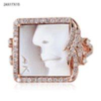 Shell Cameo Diamond Ring