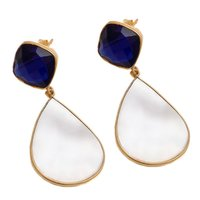 Shell And Sapphire Hydro Gemstone Earrings