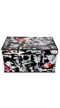 Foldable Black Laundry Cum Storage Box Basket