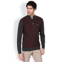 Maroon Structured Regular Fit Night Life Sweater