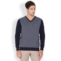 Navy Structured Regular Fit Casual Sweater