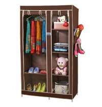 Portable Wardrobe With Heavyduty Hanging Rod And Six Multipurpose Racks